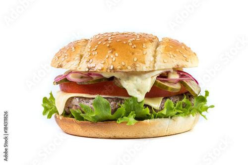 Fast food Burger with salad isolated against white background