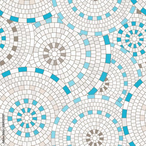 Abstract seamless pattern of geometric shapes. Circular mosaic. Wall mural