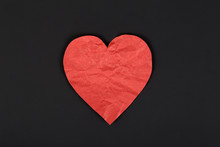 Paper Red Heart On A Dark Back...