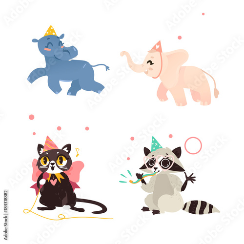 Cute Animal Characters Hippo Elephant Cat And Raccoon Having Fun At Birthday