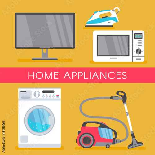 Vector Home Appliance Sale Poster Banner Design With Modern Consumer Electronics Icons Microwave Overn Washing Machine Vacuum Cleaner Plasma Panel Tv Set Monitor And Iron Isolated Illustration Buy This Stock