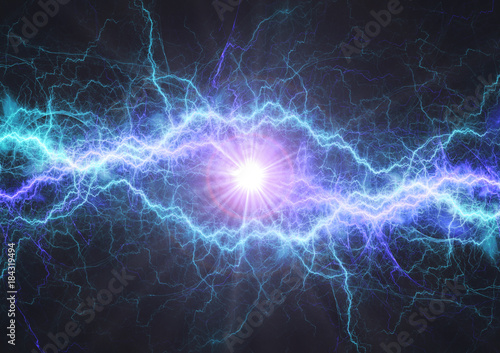 Photo  Fire and ice electrical lightning bolt, plasma and electric power background