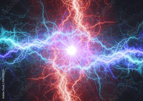 Fire and ice electrical lightning bolt, plasma and electric power background Canvas-taulu