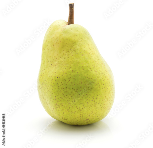 .Green pear isolated on white background one whole. Canvas Print