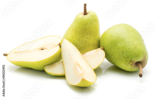 Green pears stack isolated on white background two whole one half and two slices Canvas Print