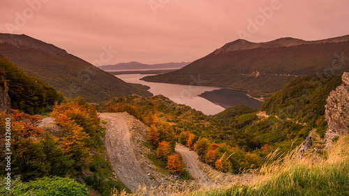 Spoed Foto op Canvas Zalm Gorgeous landscape of Patagonia's Tierra del Fuego National Park in Autumn
