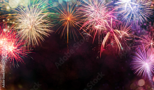 Abstract firework background with free space for text