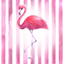 Pink Flamingo On Striped Background