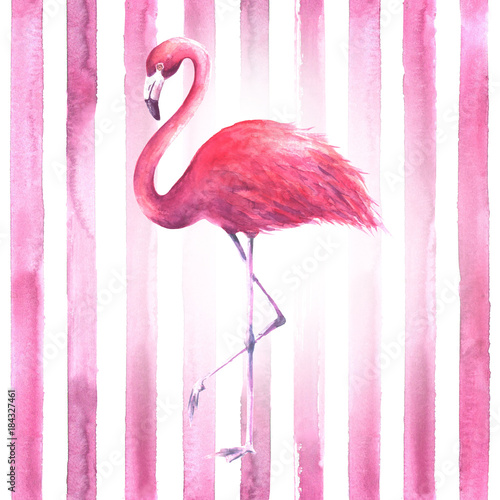 Photo Pink flamingo on striped background