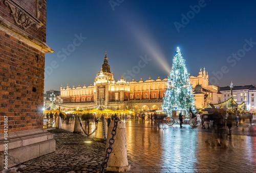 Fototapeta Krakow, Poland, Christmas tree on Main Market square obraz