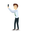 Man taking selfie.