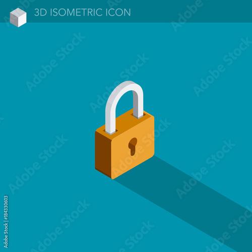 Fotomural  cadenas icône 3D isométrique - padlock 3D isometric web icon