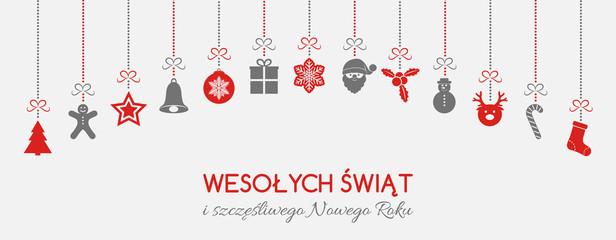 Wesołych Świąt - Merry Christmas in Polish. Christmas decoration. Vector.