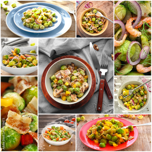 Cadres-photo bureau Nourriture Collage of different ideas for salad recipes with brussel sprouts