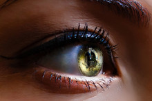 Close Up View Of Beautiful Female Eye Contact Lenses Bitcoin Eye Of A Person With The Bitcoin Coin Logo
