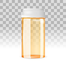 Closed And Empty Pill Bottle O...