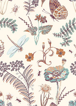 Floral Seamless Pattern, Vecto...
