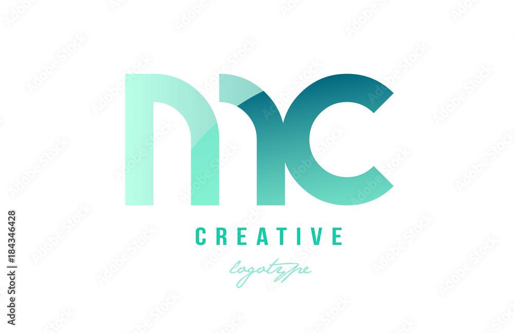 Fototapeta green gradient pastel modern mc m c alphabet letter logo combination icon design