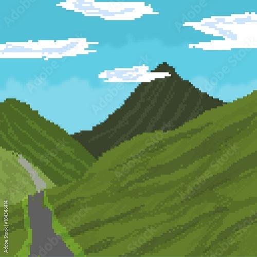 Landscape Nature Pixel Art Acheter Cette Illustration