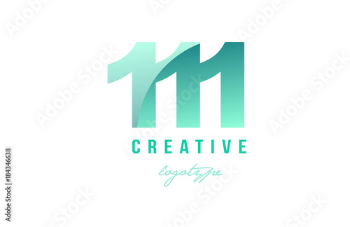 Fotografie, Obraz  111 green pastel gradient number numeral digit logo icon design