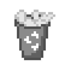 Trash Can Icon Pixel Art