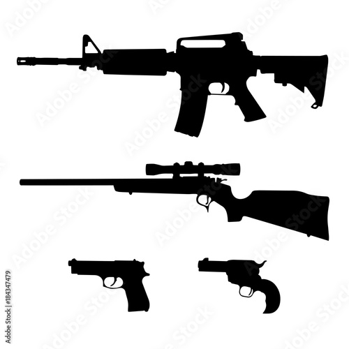 Valokuva AR-15 style Semi-Automatic Rifle, Bolt Action Rifle and Pistols Isolated Silhoue