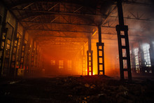Fire In The Factory. Burned By Fire Industrial Building