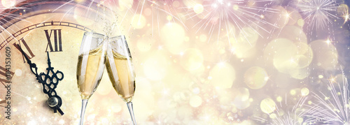 Waiting For Midnight - New Year Celebration With Champagne