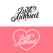 Set Of Just Married Hand Lette...