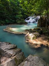 Waterfall At Erawan National Park, Kanchanaburi, Thailand