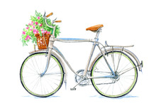 Bicycle And Basket With Flower...