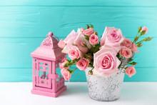 Bunch Of Tender Pink Roses Flo...