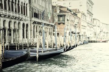Panel Szklany Podświetlane Wenecja Vintage Gondolas in Venice, Italy