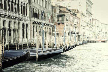 Panel Szklany Wenecja Vintage Gondolas in Venice, Italy