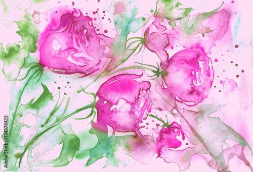 Akwarela kartkę z życzeniami z kwiatu róży, bukiet kwiatów, róża, piwonia, pąki, zielone liście, plusk farby. Piękna rocznik pocztówka, karta, zaproszenie, tło.