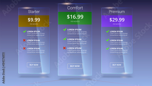 three glass banners with tariffs plan comparison of pricing table