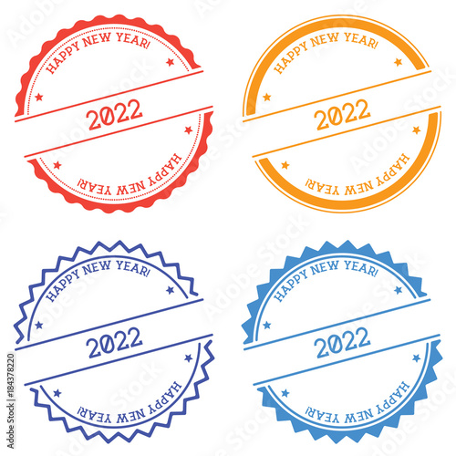 Poster  Happy New Year 2022 badge isolated on white background