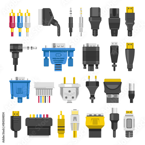 Fotomural Cable ports jacks different digital outputs vector flat isolated icons