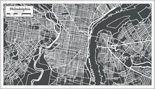 Philadelphia Pennsylvania USA Map In Retro Style.