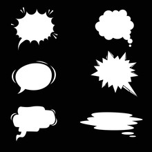 Cartoon Speech Balloons Collection On Chalkboard. Vintage Clouds Collection Sketch. Vector Illustration On Black Background.