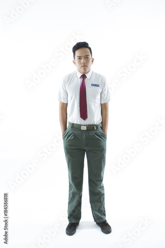 Fotografía  Malaysian secondary school boy  isolated on white background