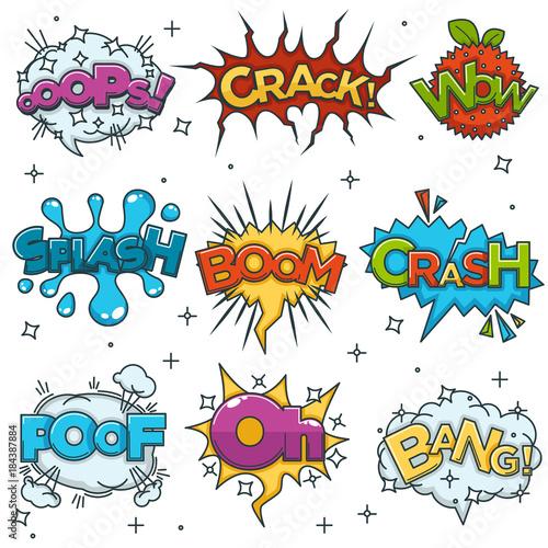 Printed kitchen splashbacks Fairytale World Comic boom, bang wow speech bubble cloud explode cartoon vector icons