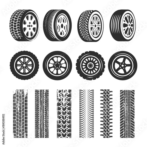 Fotomural Car tires and track traces vector isolated icons of tire tread pattern