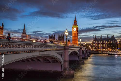 Poster London Big Ben with bridge in the evening, London, England, UK