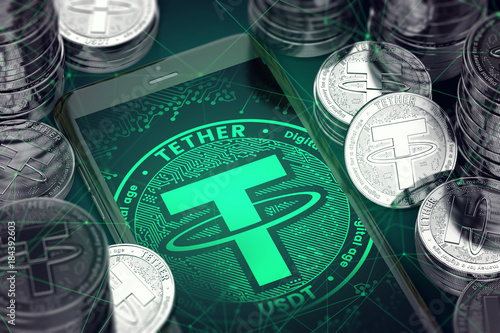 Fotomural  Smartphone with green Tether symbol on-screen among Tether coins