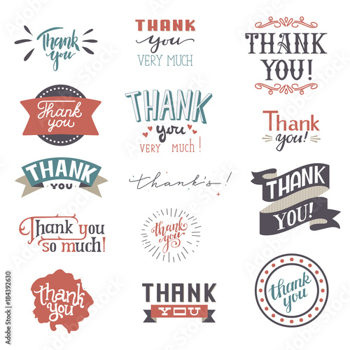 thank you card vector set text thankful lettering typography letter