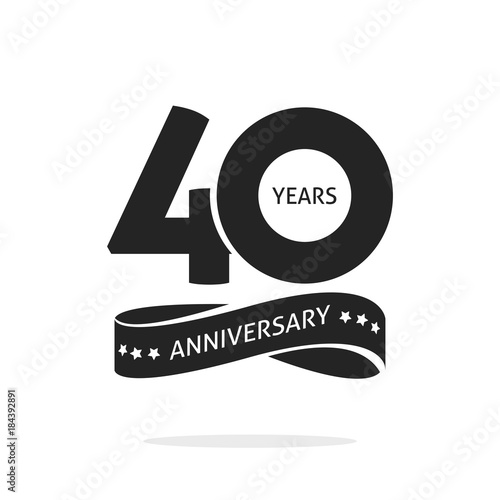 Tela  40 years anniversary logo template isolated on white, black and white stamp 40th
