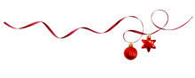 Red Silk Ribbon And Christmas Decorations