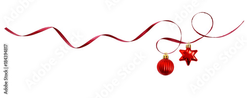 Red silk ribbon and Christmas decorations Wallpaper Mural