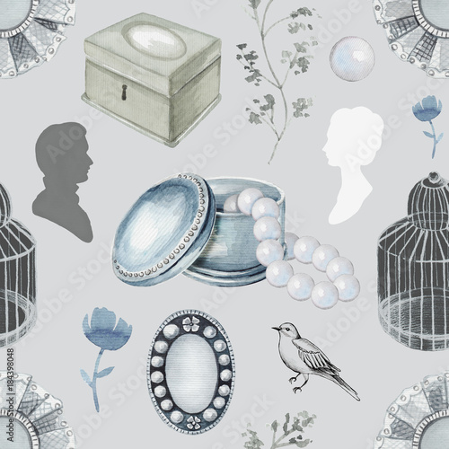 Foto Seamless background pattern with bird, twigs, bird's cage, brooches, casket, pearls and flower